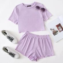 Conjunto de pijama top ribete en forma de lechuga con shorts