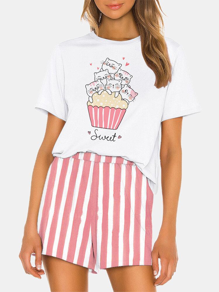 Women Cute Sweet Pajamas Set Cats Print Softies Short Sleeve O-Neck Cats Print Loungewear With Striped Bottom