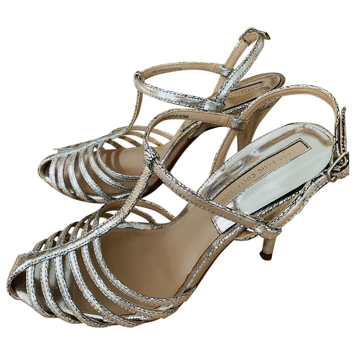 Zara \N Silver Leather Heels for Women 39 EU