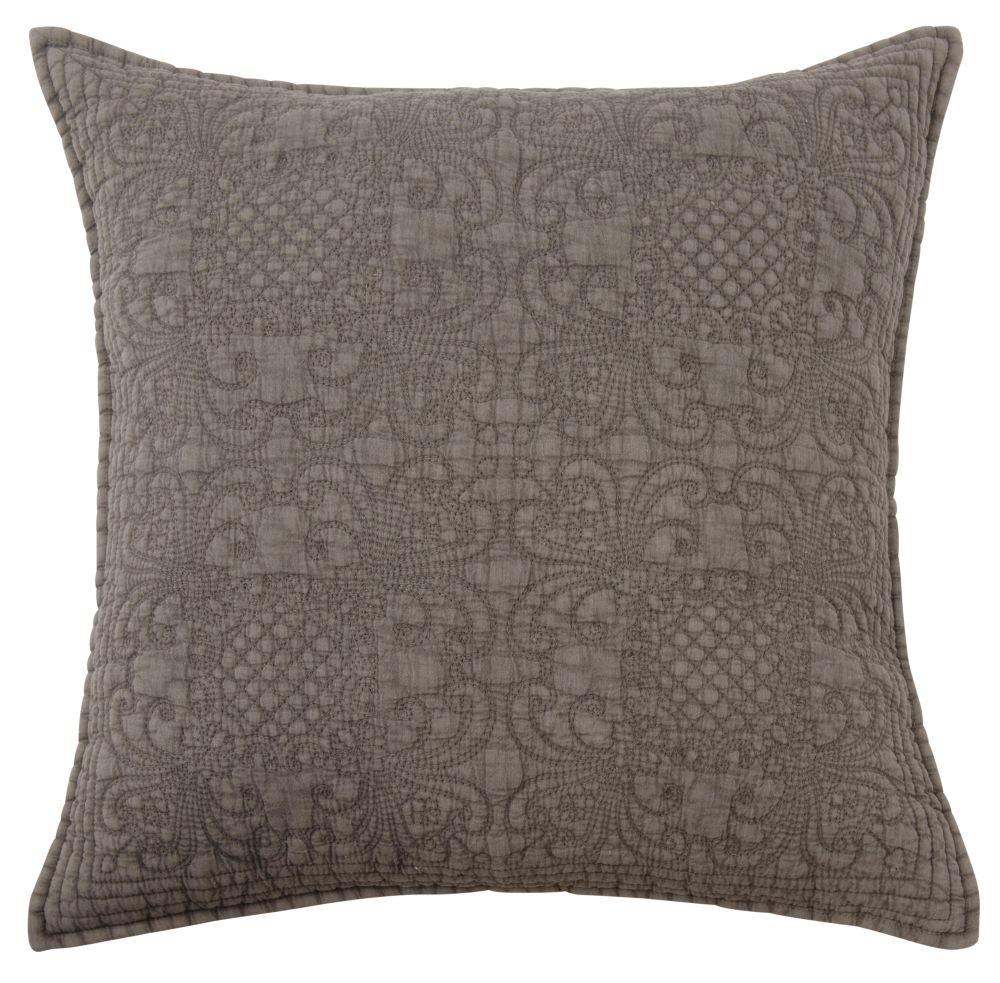 Kissen aus grauer Baumwolle mit Reliefmuster 45x45