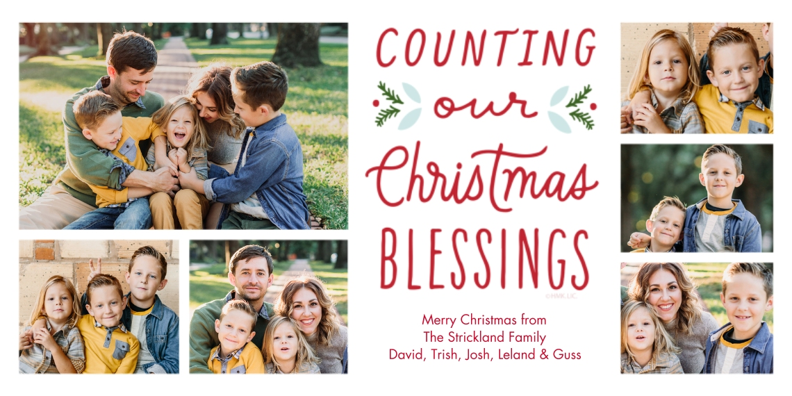 Christmas Photo Cards 4x8 Flat Card Set, 85lb, Card & Stationery -Counting Our Christmas Blessings Photo Collage by Hallmark