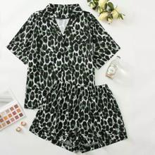 Pajama Set mit komplettem Muster und Reverskragen