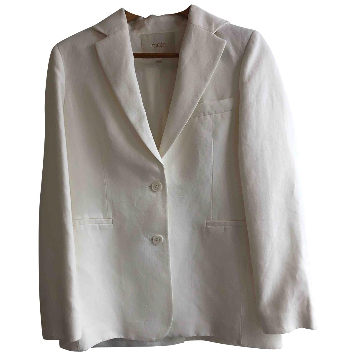 Maje Spring Summer 2019 White Linen jacket for Women 38 FR