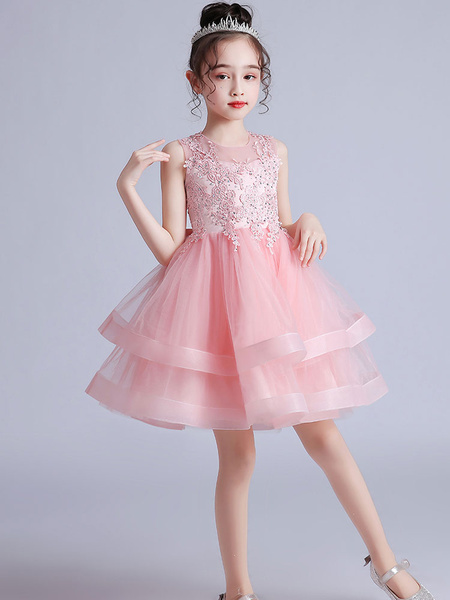 Milanoo Flower Girl Dresses Jewel Neck Sleeveless Embroidered Kids Party Dresses