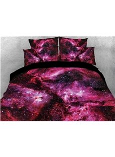 3D Nebula Galaxy Colorfast 4-Piece Red Bedding Sets Durable/Skin-friendly Digital Print Quilt Cover