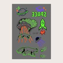 2 Blatt Leuchtender Tattoo Aufkleber mit Katze Muster