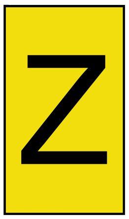 HellermannTyton Ovalgrip Slide On Cable Marker, Pre-printed Z Black on Yellow 1.7 → 3.6mm Dia. Range