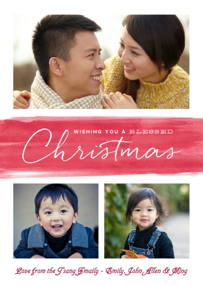 Christmas Photo Cards 5x7 Folded Cards, Premium Cardstock 120lb, Card & Stationery -A Wash Of Blessed Wishes