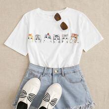 T-Shirt mit Karikatur Katze Muster
