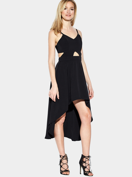 Yoins Black Plunge Cut Out High Low Hem Midi Dress