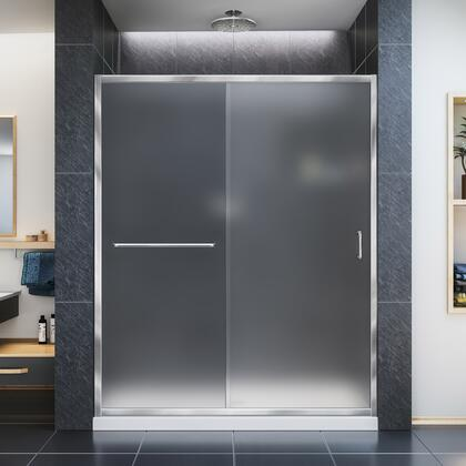 DL-6973C-22-01F Infinity-Z 36 D X 60 W X 74 3/4 H Frosted Sliding Shower Door In Chrome And Center Drain Biscuit