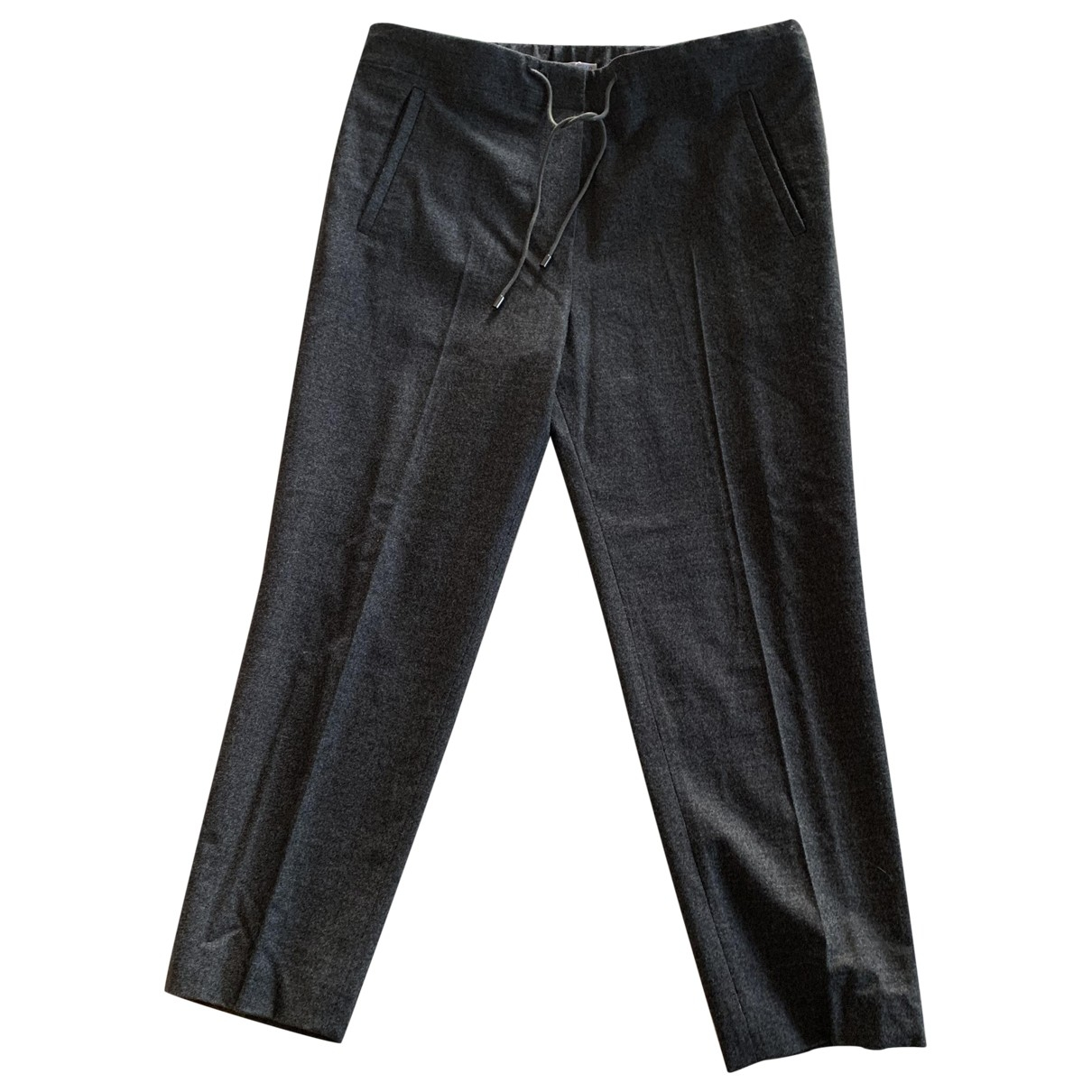 Brunello Cucinelli \N Anthracite Wool Trousers for Women 42 IT