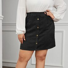 Plus Button Front Cord Skirt