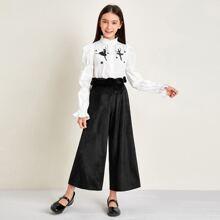 Bluse mit Figur Grafik und gesammelten Ärmeln & Samt Hose Set
