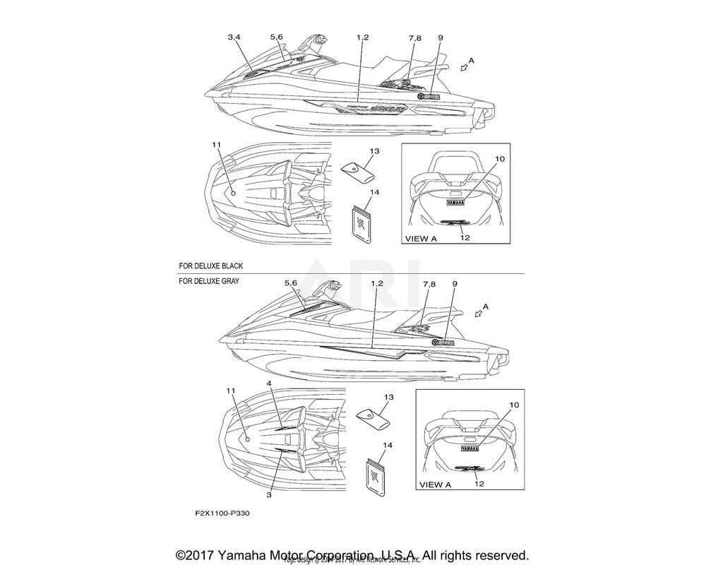 Yamaha OEM F2X-U417B-20-00 GRAPHIC 1 (LH) | DELUXE GRAY