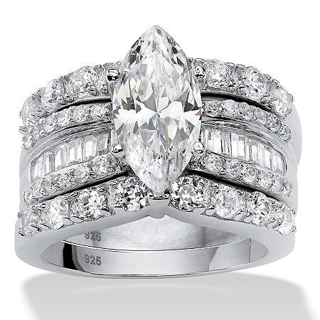 DiamonArt Womens 4 1/2 CT. T.W. White Cubic Zirconia Platinum Over Silver Bridal Set, 8 , No Color Family