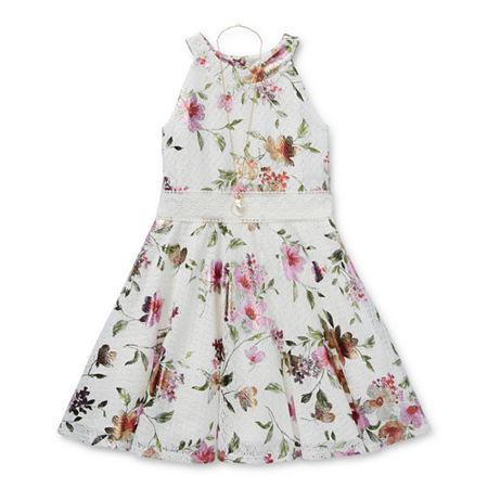 Knit Works Little & Big Girls Sleeveless Skater Dress, 10 , Pink