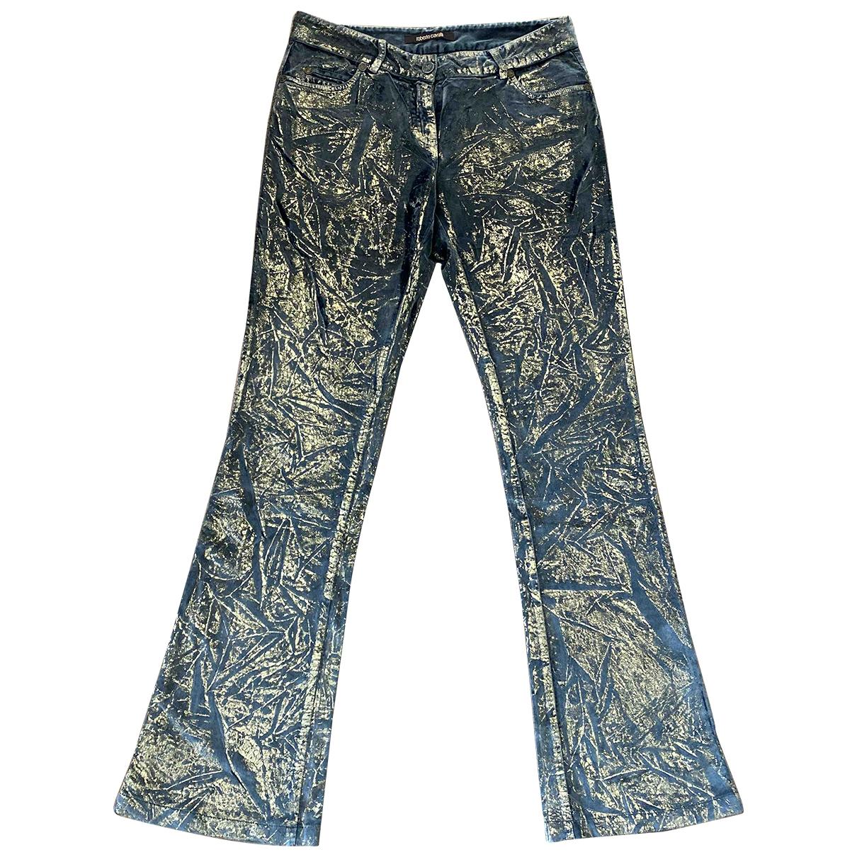 Roberto Cavalli \N Gold Velvet Trousers for Women 42 IT
