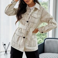 Collared Flap Pocket Front Contrast Stitch Buckle Belted Coat