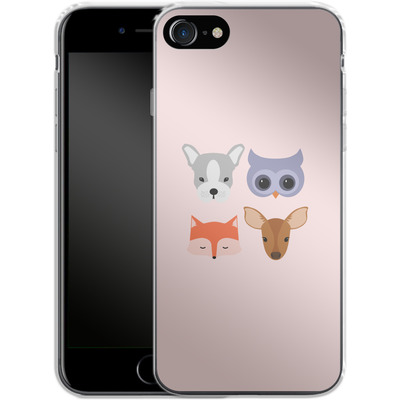 Apple iPhone 8 Silikon Handyhuelle - Animal Friends on Pink von caseable Designs