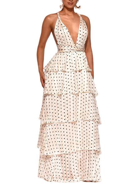 Milanoo White Party Dresses Women Halter Sleeveless Polka Dot Backless Tiered Maxi Dress