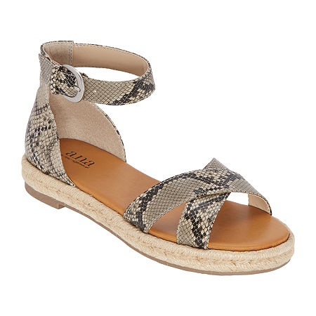 a.n.a Womens Blaze Ankle Strap Flat Sandals, 8 Medium, Beige