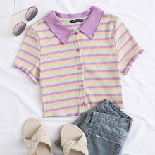 Button Front Rib-knit Striped Tee
