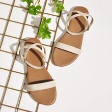 Open Toe Ankle Strap Flat Sandals
