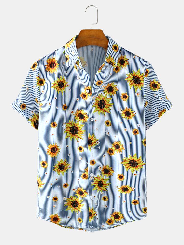 Mens Sunflower & Stripe Print Casual Light Short Sleeve Summer Shirts