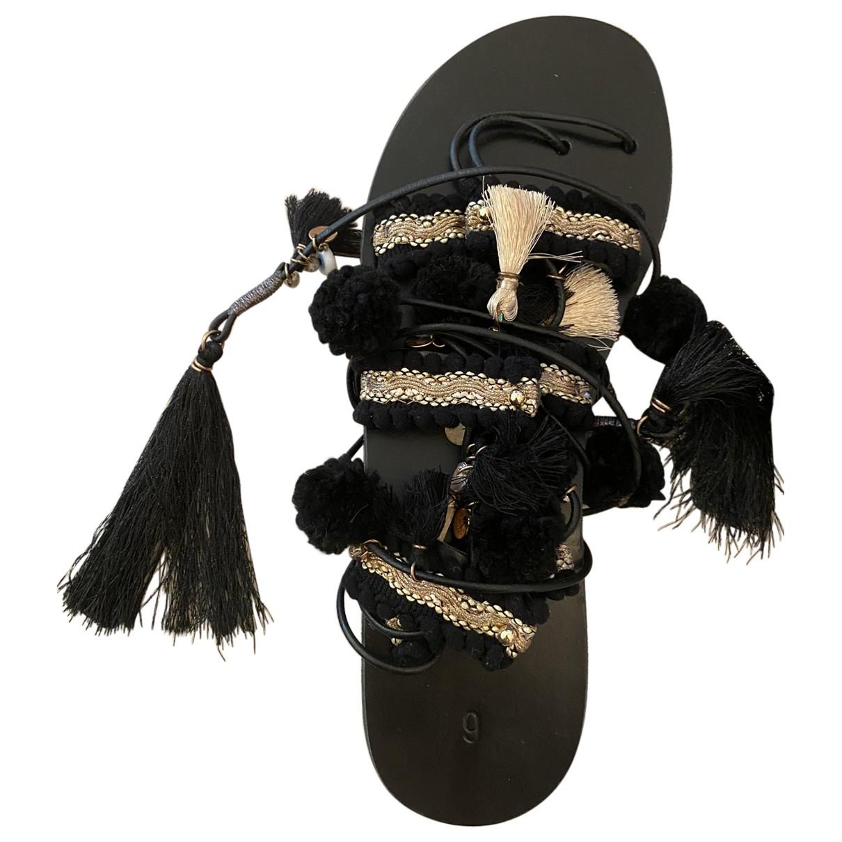 - Sandales Hippie Chic pour femme en cuir - noir