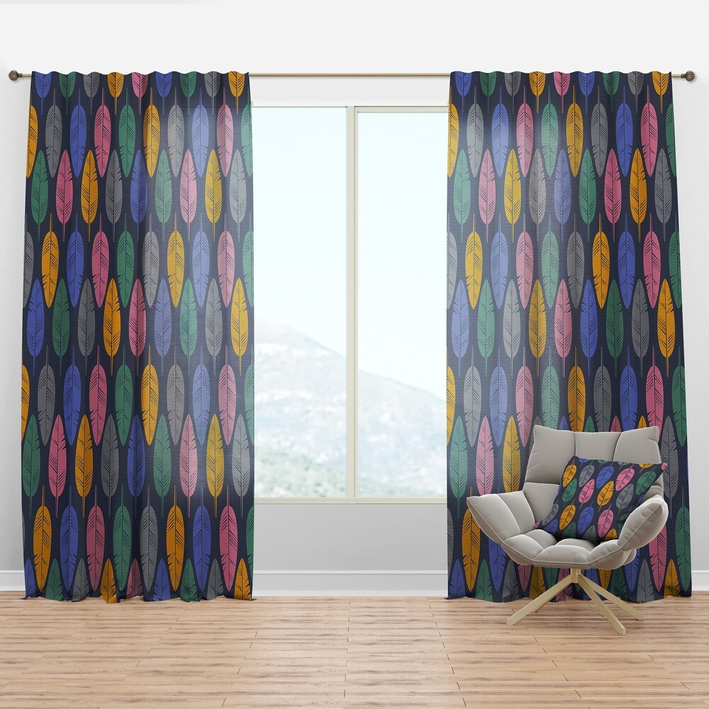 Designart 'Pattern of Multicolored Feathers' Southwestern Curtain Panel (50 in. wide x 108 in. high - 1 Panel)