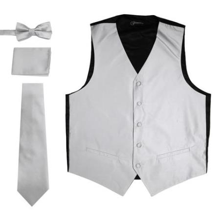 Mens 4PC Big and Tall Vest & Tie & Bow Tie and Hankie Gray