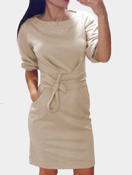 Yoins Beige Round Neck Half Length Sleeves Self-tie Waist with Pocket