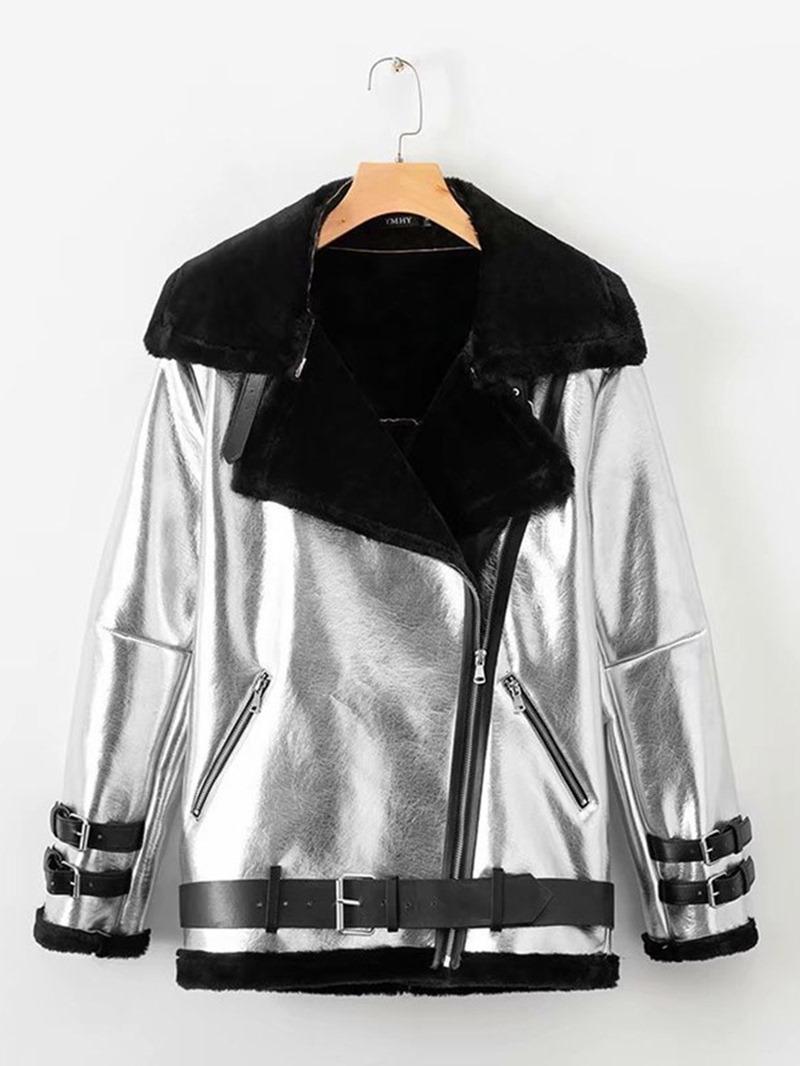 Ericdress Zipper Loose Long Sleeve Regular Lapel Jacket