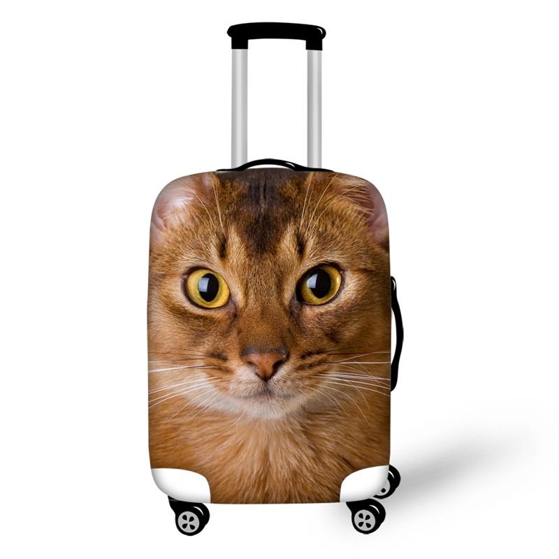 Anti-Scratch Travel 3D Animals Pattern Cute Cat Luggage Cover Suitcase
