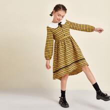 Kleid mit Schleife vorn, Kontrast Peter-pan-Kragen, abfallendem Saum und Karo Muster