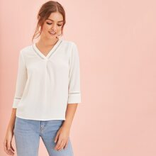 Solid Lace Insert V Neck Top