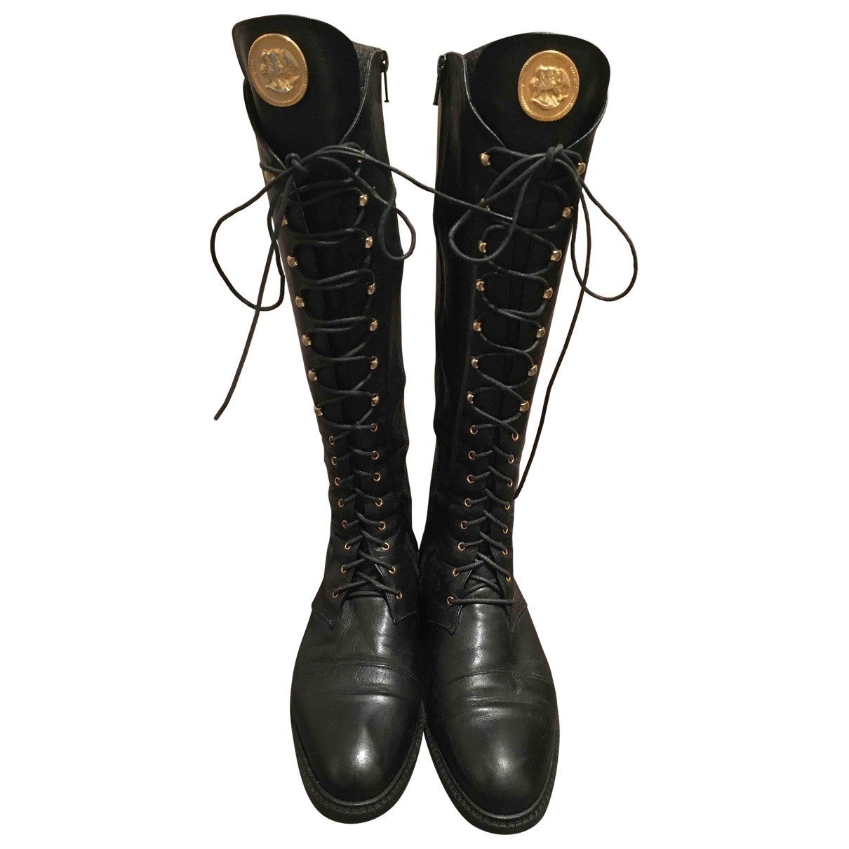 Non Signé / Unsigned \N Black Leather Boots for Women 37 EU