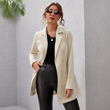 Double Button Buckle Belted Blazer