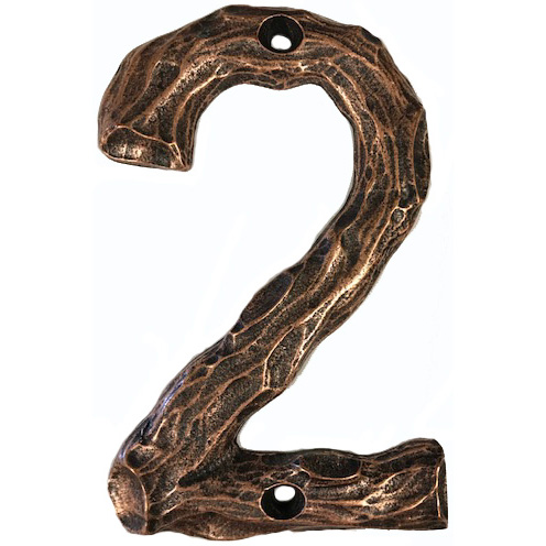 LHN2-AC Log House Number 2, Antique Copper, 1 piece