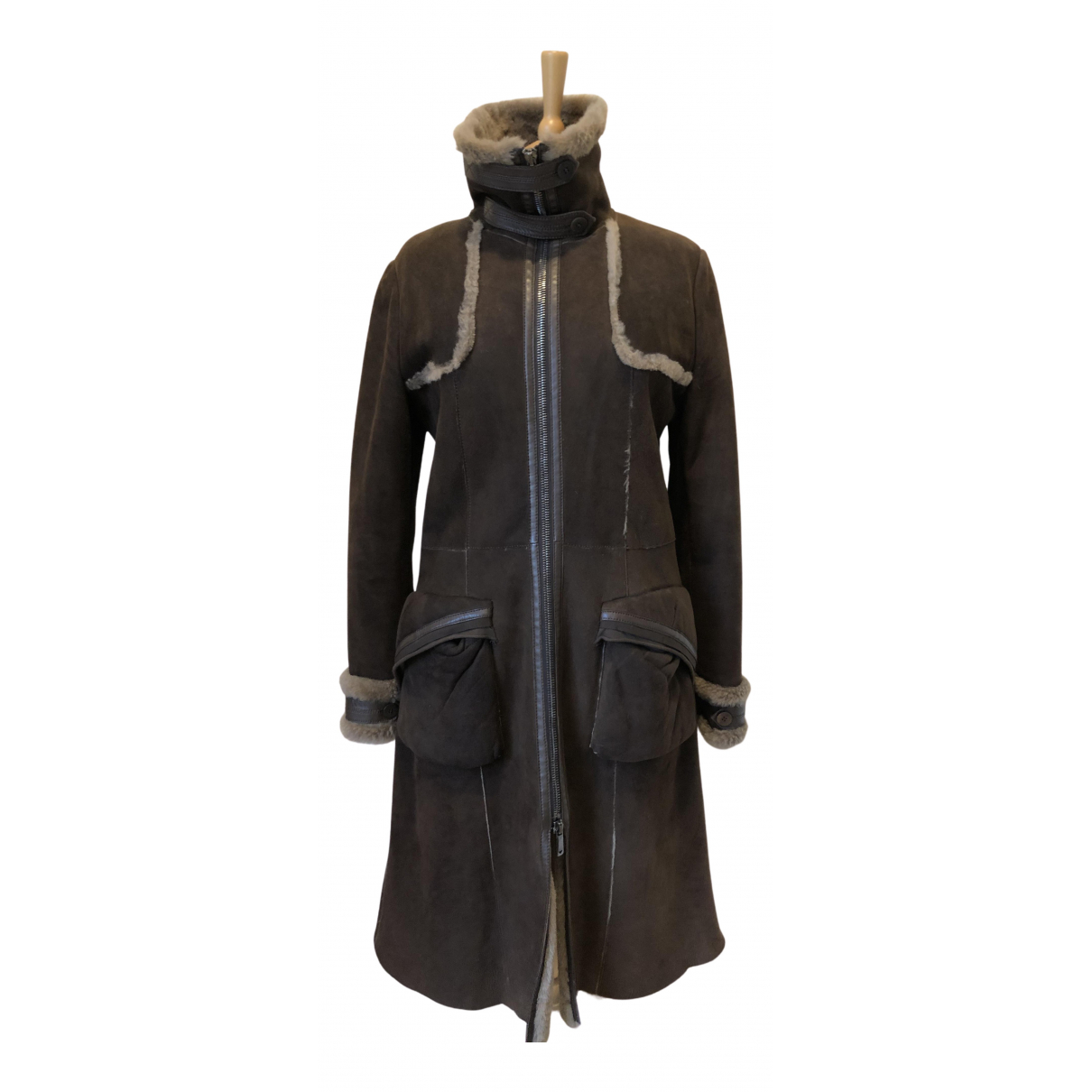 Emporio Armani N Brown Shearling coat for Women 46 FR