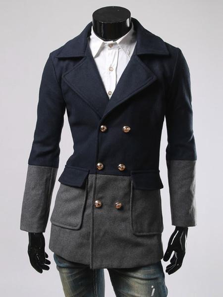 Milanoo Men Pea Coat Color Block winter coat Double Breasted Casual Outerwear