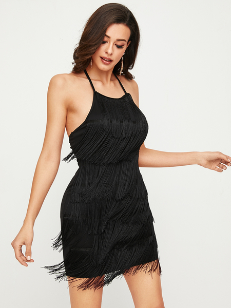 YOINS Black Backless Tassel Design Self Tie Halter Sleeveless Dress