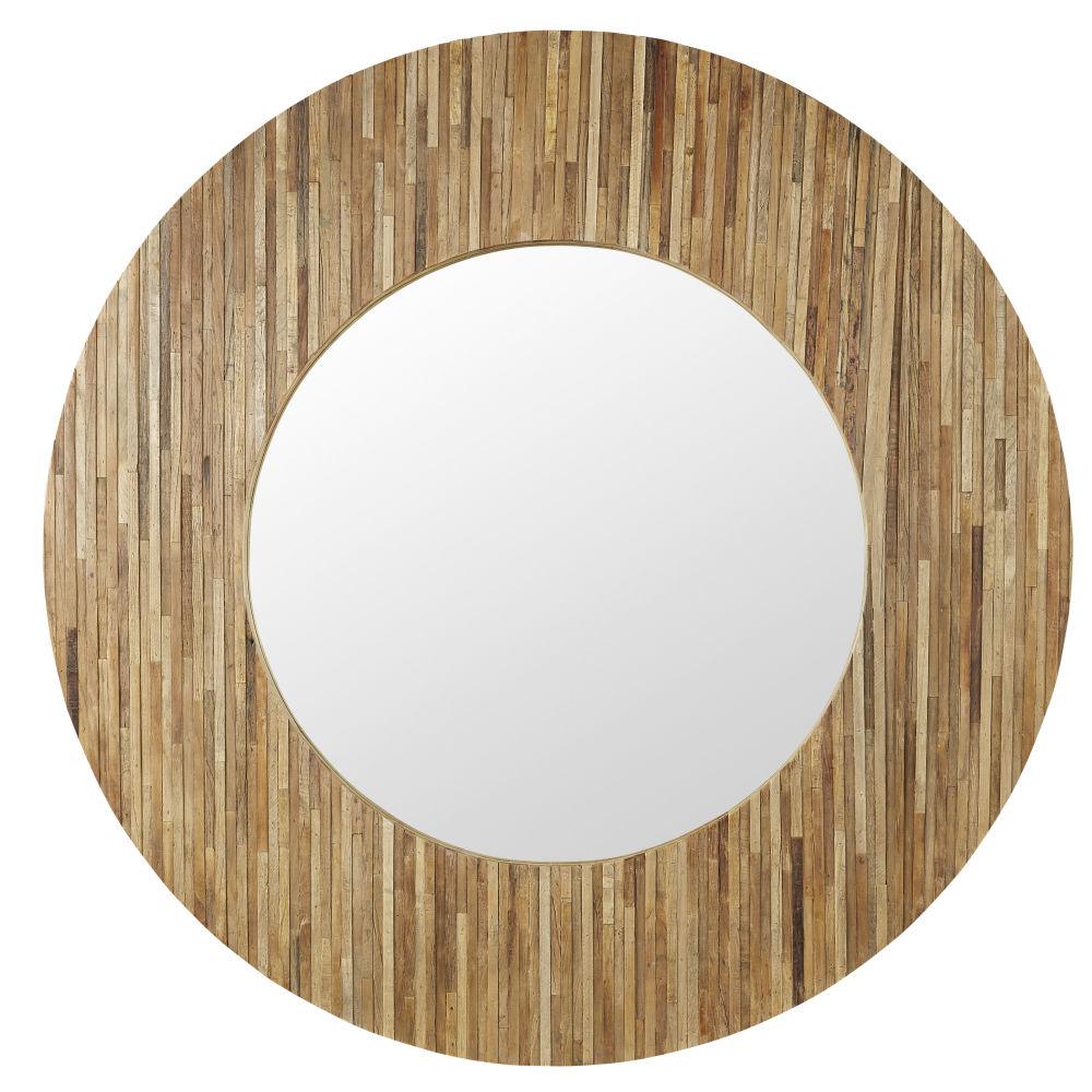 Runder Spiegel aus Tannen- und Ulmenholz D149