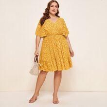 Kleid mit Dalmatiner Muster und Kordelzug um die Taille