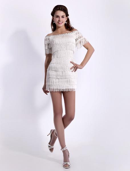 Milanoo Vestidos de fiesta cortos Vestido de coctel de saten con escote barco sin mangas Vestidos de boda para huespedes