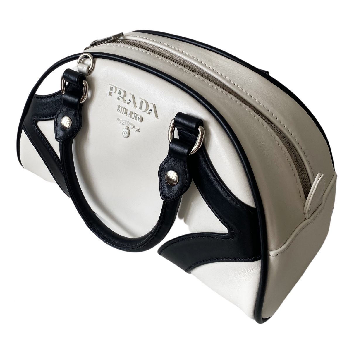 Prada Bowling Handtasche in  Weiss Leder