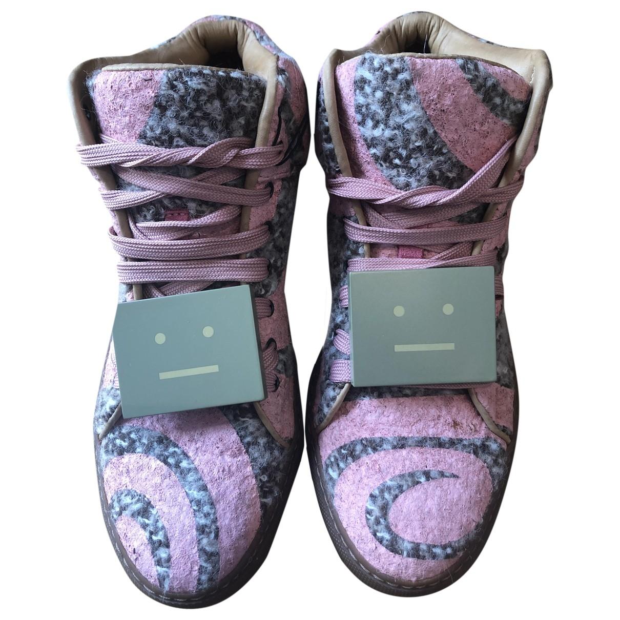 Acne Studios - Baskets   pour femme en tweed - rose