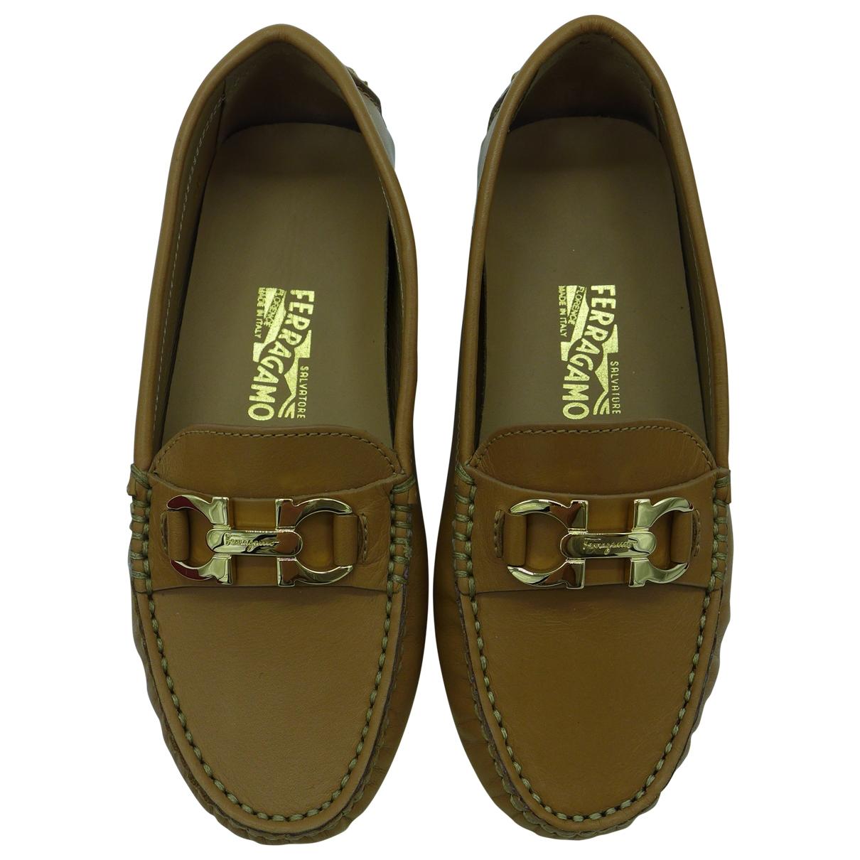 Salvatore Ferragamo \N Brown Leather Flats for Kids 28 EU