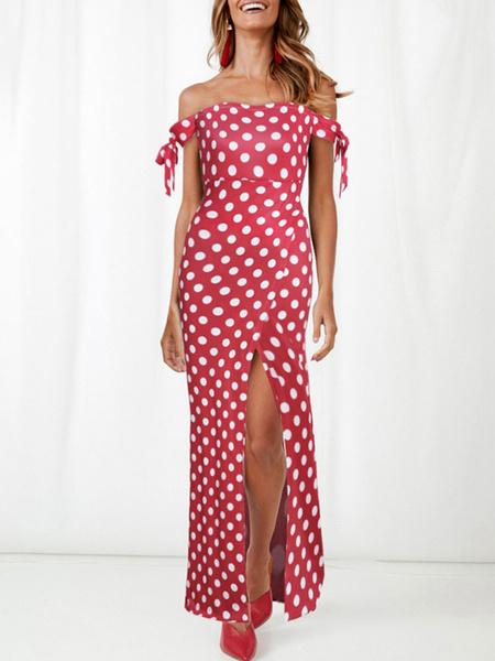 Milanoo Vestidos largos Mangas cortas Vestido de lunares rojo Bateau Neck Mezcla de algodon Hasta el suelo Vestido